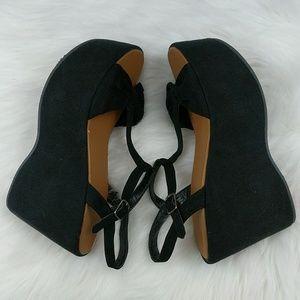 Faux suede platform wedge sandals bow tie